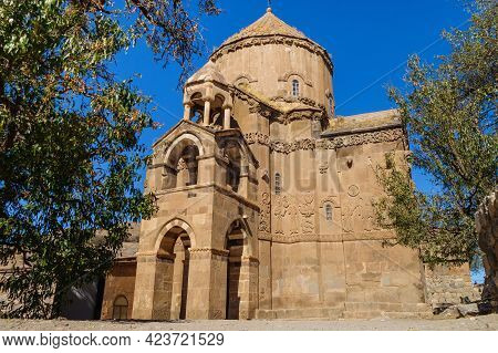 Main Facade Of Medieval Armenian Cathedral Of Holy Cross, Akdamar Island, Van Lake, Gevaş, Turkey. B