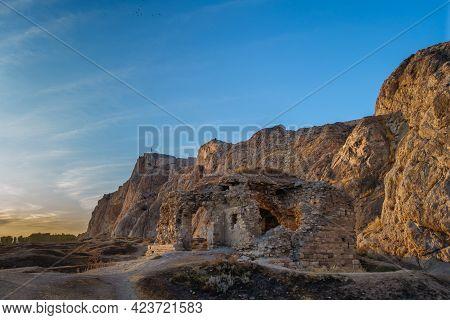 Evening View Onto Ruins Of Building (mosque Or Church) In Old City Of Van, Van, Turkey. Van Rock Wit