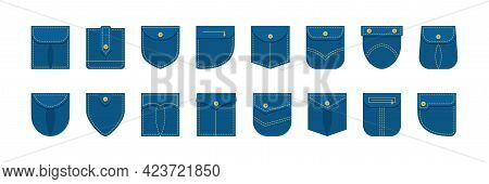 Denim patch pocket shirt vector set different shape, jeans clothes isolated on white background. Garment illustration
