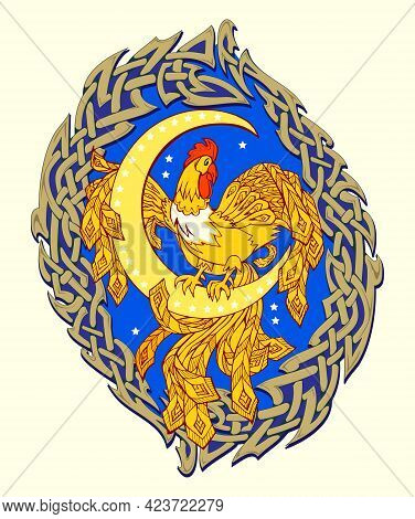 Fantasy Illustration Of Fairyland Rooster Sitting On The Moon. Abstract Decoration With Celtic Knot