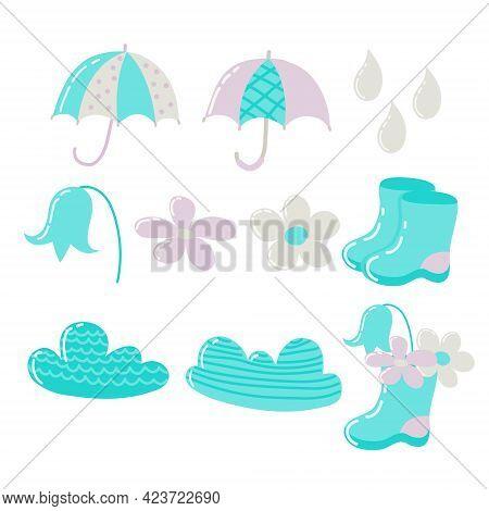 Children's Set Of Umbrellas, Rubber Boots, Flowers, Raindrops, Painted Clouds In Pastel Colors. Set