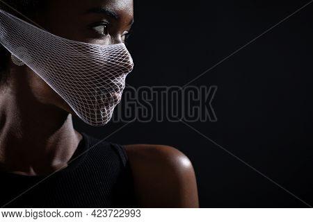 Portrait Profile Of African-american Woman Fashion Model Wearing Quarantine Medical Fishnet Knitting