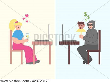 Internet Dating Scam. Online Crime Concept Illustration