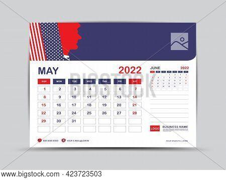 Calendar 2022 Design, May Month Template, Desk Calendar 2022 Layout, Usa Flag Background Concept, Ad