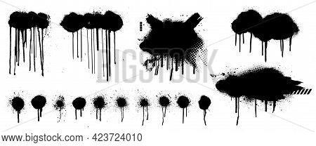 Template Spray Graffiti By Hand Drawn. Stencil Mockup Black Grunge Dots, Clouds And Dripping Paint.