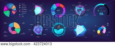 Modern Pie Chart And Circle Infographic Collection For Web, Ui, Ux, Kit And Mobile App. Futuristic C