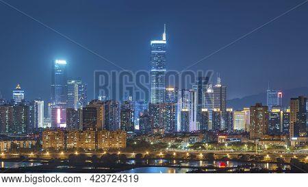 Shenzhen, Tower, Chinese, View, Futian, Business, Landmark, Panoramic, Night, Location, Skyline, Eve