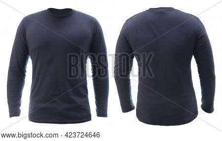 Blank Long Sleeved Shirt Mock Up Template, Front And Back View, Plain Dark Navy Blue T-shirt Isolate