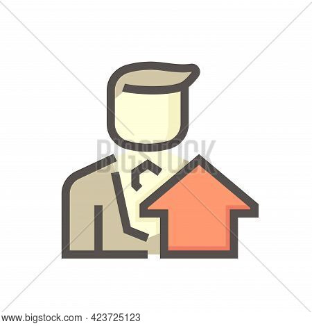 Housing Estate And Agent Or Realtors Vector Icon. Include Home Or House Building. That People Is Spe