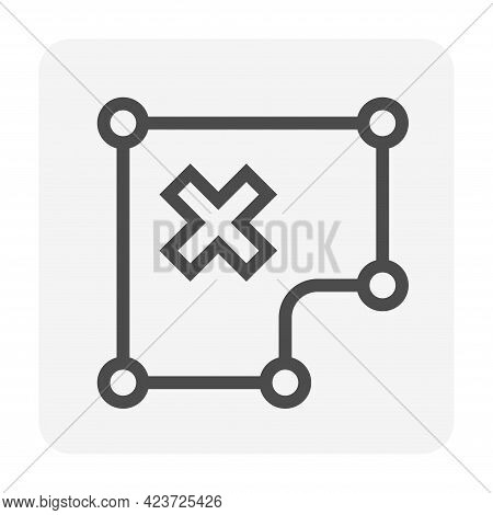Land Plot And Characteristics Or Shape Of Land Vector Icon. That Real Estate Or Property With Bad Sh