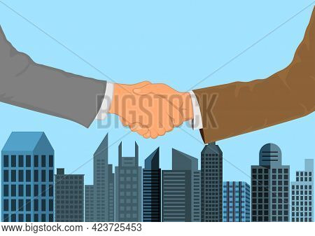 Drawing Graphics Hand Of Business Man Shaking Hands For  Successful Negotiate For Business