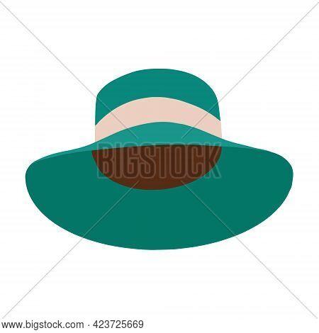 A Felt Hat. A Felt Hat With A Wide Brim. Womens Headdress.vector Illustration In A Flat Cartoon Styl