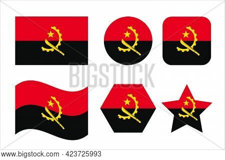 Angola Flag Simple Illustration For Independence Day Or Election. Simple Icon For Web