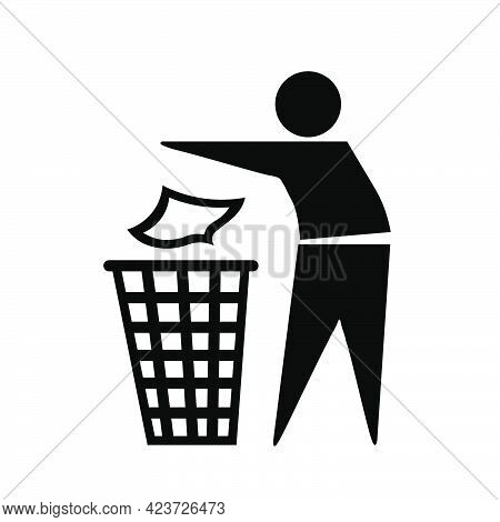 Throw Away In The Trash Can. The Marking Indicates That The Packaging Can Be Thrown Into The Trash C