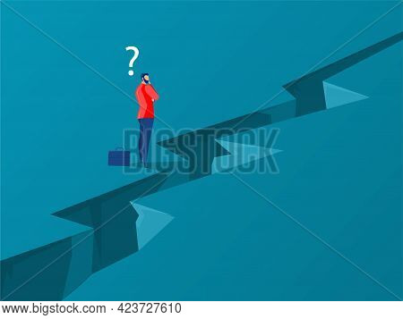 Businessman Standing With Thinking Overcomes Obstacle Chasm On Way To Success. Achievement And Chall