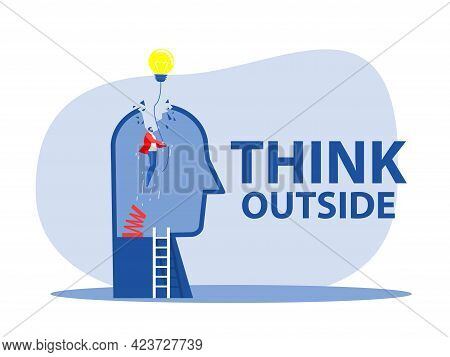 Think Outside , Original Businessman Person Rising Up High With Lamp Bulb, Metaphor Of Innovation, E