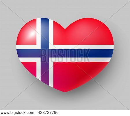 Heart Shaped Glossy National Flag Of Norway. European Country National Flag Button, Norwegian Symbol
