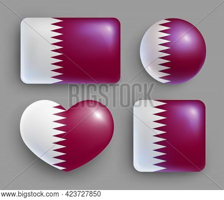 Set Of Glossy Buttons With Qatar Country Flag. Middle East Country National Flag, Shiny Geometric Sh