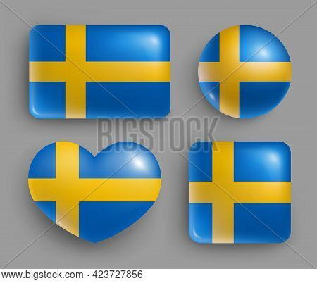 Set Of Glossy Buttons With Sweden Country Flag. North Europe Country National Flag Shiny Badges Of G