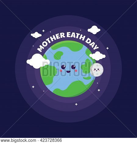 Planet Earth Cute And Happy Cartoon Vector Character, Space Illustration, Save The Earth