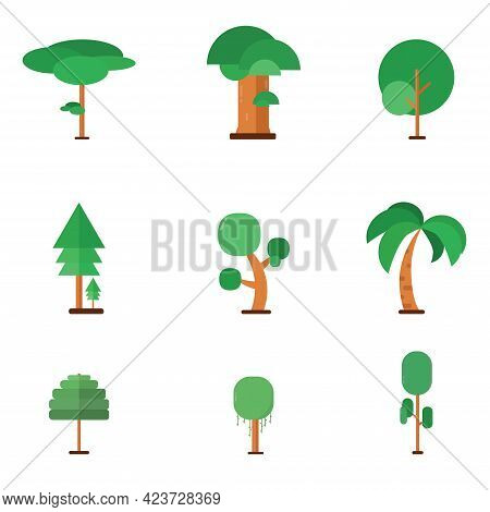 Set, Vector Trees Flat Icon Style. Green Leaf And Brown Stem. All Object On White Background.