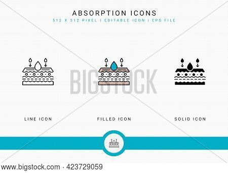 Absorption Icons Set Vector Illustration With Solid Icon Line Style. Skin Moisture Water Concept. Ed