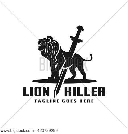 Lion Killer Illustration Logo Design Your Company