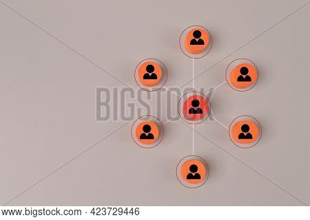 Wooden Blocks With People Icons. Organisation Structure, Management And Social Network Concepts.