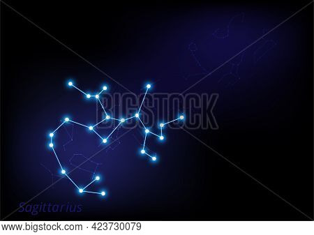 Abstract Zodiac Star Sign. Astrological Background Vector Illustrator. Sagittarius.