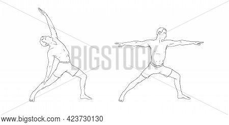 Yoga Warrior Poses Or Virabhadrasana I And Peaceful Variation. Men Practicing Yoga For Balance Impro