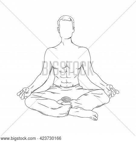Meditating Man In Siddhasana. Yoga Meditation For Body Relax And Spirit Harmony. Vector Illustration