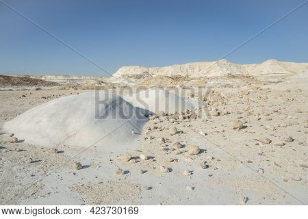 Beautiful Lunar Landscape. Wight And Smooth Hills In Various Shapes In A Desert Landscape. The Whiti