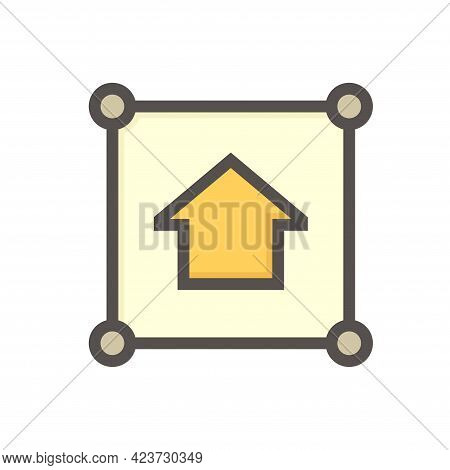 Land Plot And House Vector Icon In Top View. Include Gps Position Pin Point Of Location. Real Estate