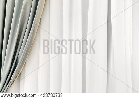 Background Texture Of Decoration Draperies Layered Curtains.