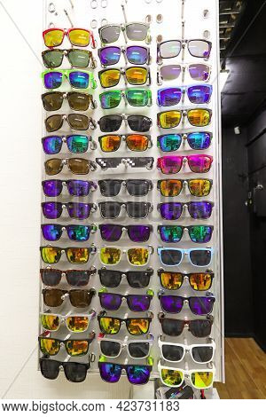 Almaty, Qazaqstan - September 21, 2019: A Stand Of Colorful Various Sunglasses, Red, Yellow, Green A