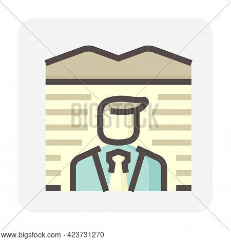 Real Estate Broker, Agent Or Realtor Vector Icon. Consist Of Empty Land, Salesperson Or Person Or Ma