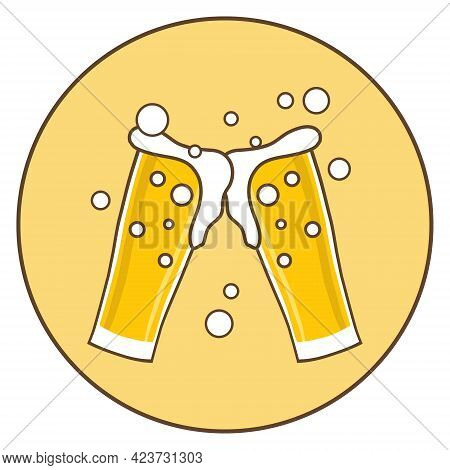 Two Beer Glasses, Beer Glass Icon. Vector, Cartoon Illustration. Vector.