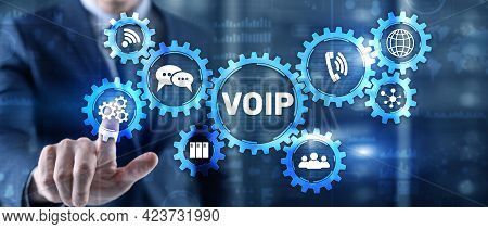 Voip Voice Over Ip. Businessman Pressing Virtual Screen Voice Over Internet Protocol
