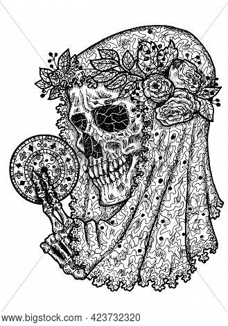 Black And White Scary Illustration Of Vector Skull Wearing Bridal Veiling And Holding Disk With Myst