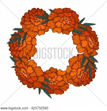Round Frame With Colorful Sketch Of Marigolds And Copy Space. Invitation Cards With Garland Of Flowe