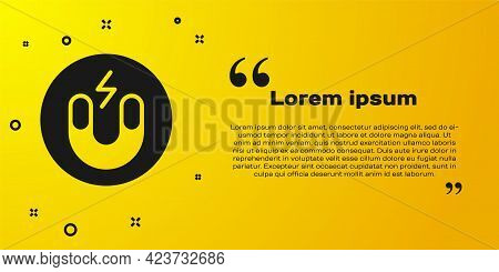 Black Magnet Icon Isolated On Yellow Background. Horseshoe Magnet, Magnetism, Magnetize, Attraction.