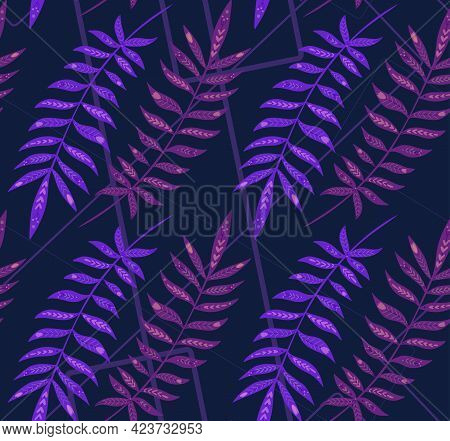 Seamless Neon Pattern With Tropical Leaves With Folk Decoration On Geometric Lines. Texture With Vio