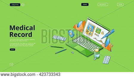 Medical Record Banner. Patient Health Report In Electronic File, Online Healthcare Data. Vector Land