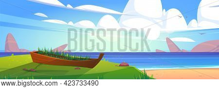 Sea Beach With Old Boat In Green Grass. Vector Cartoon Summer Landscape Of Ocean Sand Shore With Sto