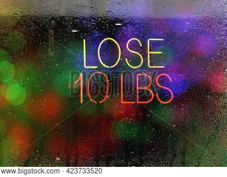 Weight Loss Sign At Health Club, Rainy Window Neon Sign