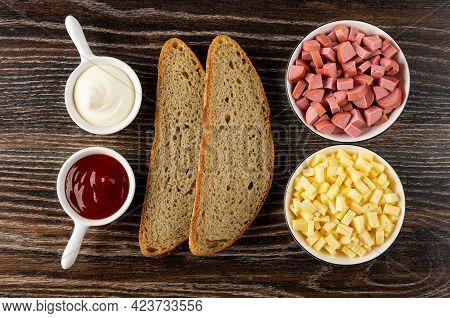 Sauce Boats With Ketchup And Mayonnaise, Slices Of Rye Bread, Bowls With Small Pieces Of Cheese And