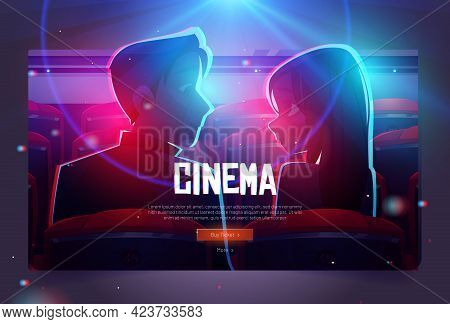 Cinema Cartoon Web Banner, Loving Couple In Movie Theater, Man And Woman Look On Each Other Sitting
