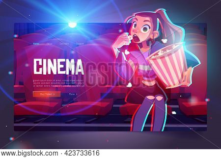 Cinema Cartoon Web Banner, Young Mesmerized Girl With Pop Corn Bucket Sitting In Movie Theater Front