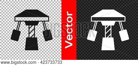 Black Attraction Carousel Icon Isolated On Transparent Background. Amusement Park. Childrens Enterta