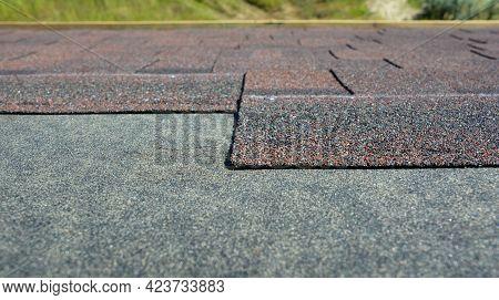 Asphalt Roofing Shingles Installation: A Close-up On The Architectural Asphalt, Bitumen Roofing Shin